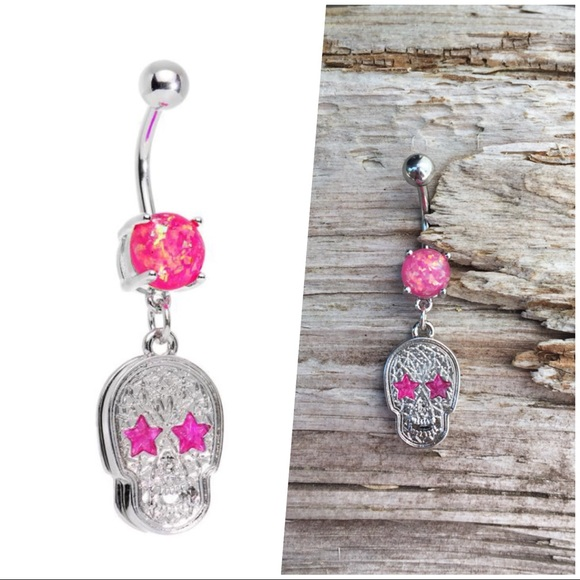 Pink Skull Opal Belly Button Navel Ring